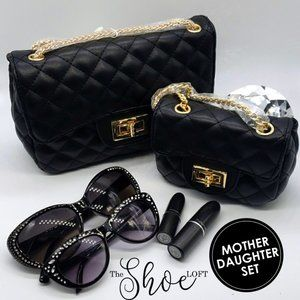 Mother Daughter Quilted Flap Bag Set